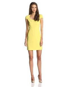 Yello Capsleeve Dress by 4.collective. 4.collective Women's Solid Crepe Cap-Sleeve Fitted Dress. Vibrant sheath dress featuring scoop neckline and cap sleeves. Concealed back zipper. Fully lined.
