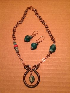 I love Roman glass and used the remainder of my package from Nicole Rennell to make this set with Roman glass as a part of the focal pendant.