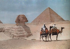 The Sphinx and Two Camels  National Geographic: Autochromes  1925