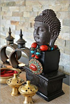 Asian Inspired Décor, Buddha, Buddha Décor, Buddha Vignettes, Global decor, Home decor, Zen décor, Zen vignettes