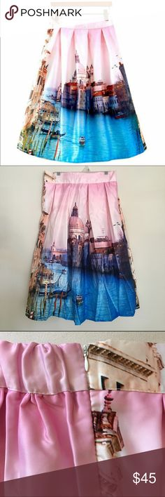 "Gorgeous Venice Landscape midi skirt. Retail Midi skirt. Venice landscape. One size fits small and medium. 100% Polyester. 24"" long. Waist 25"" to 33"". Skirts Midi"