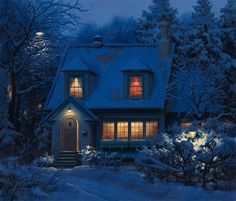 Enchanted snowy house! Looks so cosy!