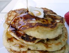 Greek Yogurt Pancakes  Flour, an egg, baking soda, and a container of Greek yogurt are the only ingredients you'll need to whip these up in 10 minutes flat.    That's right— you only need 1 bowl, 4 ingredients, and 10 minutes to make the best  pancakes ever.    I've made these Greek yogurt pancakes about a bajillion times and they're virtually foolproof.