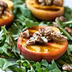 Grilled Peach Salad...with toasted pecans, blue cheese and honey balsamic syrup over a bed of arugula