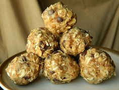 Energy Balls  1 c. old fashioned oatmeal  1/2 c. peanut butter  1/3 c. honey  1 c. shredded coconut  1/2 c. ground flax seed  1/2 c. mini chocolate chips  1 tsp vanilla    Mix everything in a bowl, and then refrigerate for 20-30 minutes.  Roll into little balls.  Should make about 18-20. Store in fridge.