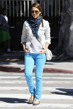Jessica Alba; celebrities styles and Bohemian street fashion styles 2012, turquoise blue jeans, white tee and white denim jacket, white shoulder bag, great flats...very subtle sexy chic!
