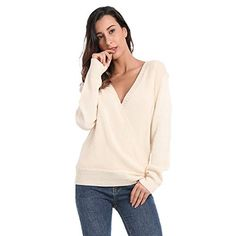 91a5c127c2b1c3 JTANIB Women's Deep V-Neck Sexy Knitted Sweaters Long Sleeve Wrap Front  Loose Pullover Jumper Tops