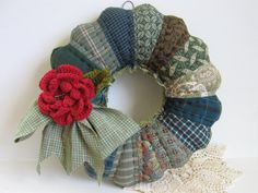 Great idea for a wreath. Quilted wreath scrappy Dresden plate. (10in) SOLD.