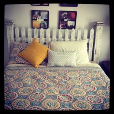 Picket fence headboard Quilt bedspread I love my bed!