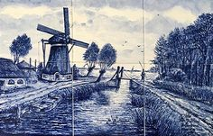 Delft Blue, handpainted tile. Made in Holland.