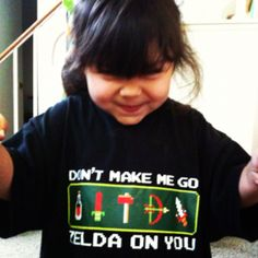 """Nerd shirt February for Bella! Wearing her mom's old """"Don't make me go Zelda on you"""" shirt to sleep"""