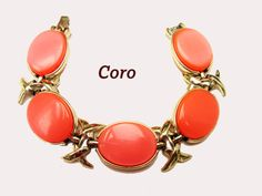 Coro Link Bracelet Orange Thermoset plastic Mid century