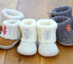 CROCHET PATTERN Ugg style Booties with Rib Cuffs por matildasmeadow