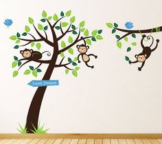 Monkey Tree And Branch Vine Wall Stickers