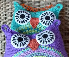 Adorable and colorful Crochet pattern owl cushion by ATERGcrochet in two sizes. €3,95, via Etsy.