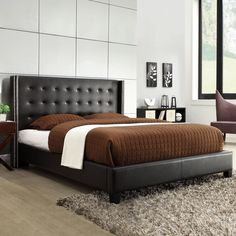 Inspire Q Marion Black Bonded Leather Nailhead Wingback Tufted... (€310) ❤ liked on Polyvore featuring home, furniture, beds, queen bed, black tufted headboard, upholstered tufted headboard, queen upholstered headboard and black queen headboard