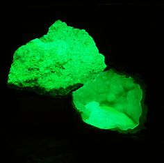 """This pic shows two rocks both of which fluoresce bright green due to uranyl (UO2).  The upper rock (3"""" wide) is meta-autunite from the Daybreak Mine in Spokane, Washington and the lower rock is a geode containing chalcedony that I got this summer as a doorprize at a meeting of the Fluorescent Mineral Society.    Shown in SW light.  Meta-autunite obtained from Minershop.com. Chalcedony obtained from FMS."""