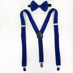 Men's blue suspenders and bowtie  blue bowtie by crystalAmour, $19.95