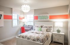 Clean and simple design is perfect when paired with stunning pops of color! This kids room decor makes quite a statement. | Pulte Homes