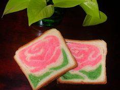 Motif rose inséré dans pain /brioche.  Technique en photos.  - Rose bread.