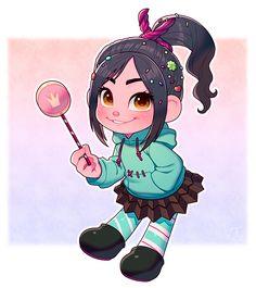 e-shuushuu kawaii and moe anime image board Cute Disney Drawings, My Drawings, Disney Kunst, Disney Art, Disney And Dreamworks, Disney Pixar, Chibi, Vanellope Von Schweetz, Moe Anime