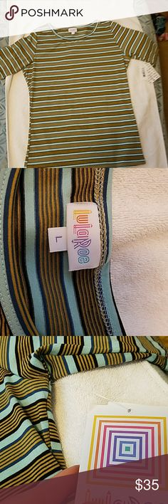 Large Gigi from lularoe I am selling a large dark medium and light blue with yellow stripes large Gigi. This is a Gigi from lularoe. It's brand new with tags never worn comes from a pet free and smoke-free home this product is made with 96% polyester and 4% spandex. This item is made in the USA. LuLaRoe Tops Muscle Tees