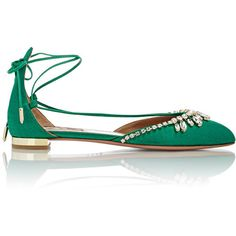Aquazzura Women's Jeweled Alexa Lace-Up Flats ($925) ❤ liked on Polyvore featuring shoes, flats, green, flat pumps, green shoes, lace up flat shoes, green leather shoes and round toe flats