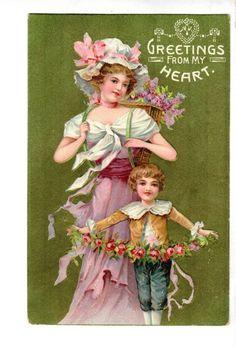US2258 Postcard Artist designed Valentine woman with child floral