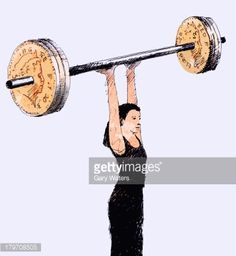 Stock Illustration : Woman lifting barbell with British pound coin weights above head