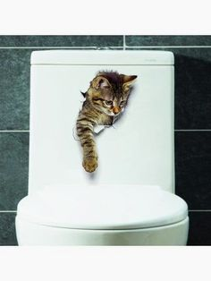 Wall Stickers Lovely Removable Pvc 3 D Cat Pattern Home Decor Toilet Sticker Wall Sticker & Garden