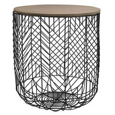 Black Metal Cage Side Table
