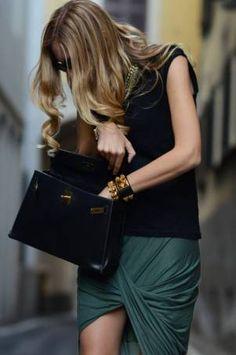 Emerald twisted tulip skirt & Hermès