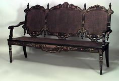 English Papier-mache seating loveseat/settee lacquer