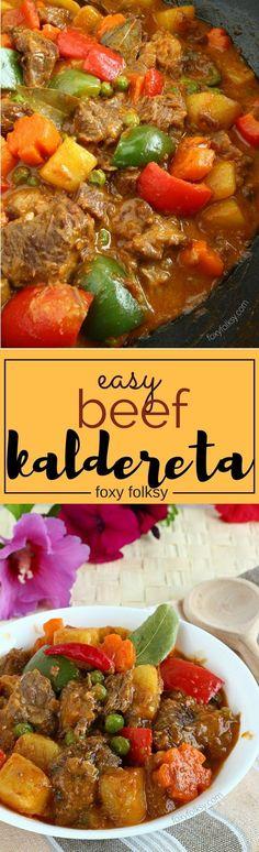 Beef Kaldereta (or Caldereta) is a Filipino spicy tomato-based beef stew loved by many Filipinos | www.foxyfolksy.com