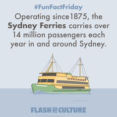 FUN FACT: Operating since Sydney Ferries carry over 14 million passengers each year in and around Sydney. Facts About Australia, Australia Day, Australian Slang, Australian Animals, Puns Jokes, Funny Puns, Sydney Ferries, Fun Facts For Kids, Fun Fact Friday