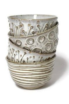 Dotti Potts Pottery-Pottery, fashion jewellery, earrings and rings | Vanilla Collection Eating Bowls