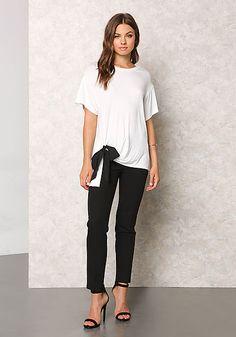 White Jersey Knit Ribbon Shirt