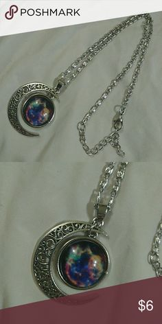 """Cutout moon and galaxy charm necklace 16-18"""" Very nice large intricate design moon and galaxy charm on an adjustable 16-18"""" necklace new w/o tags again another beautiful necklace that I haven't worn... Jewelry Necklaces"""