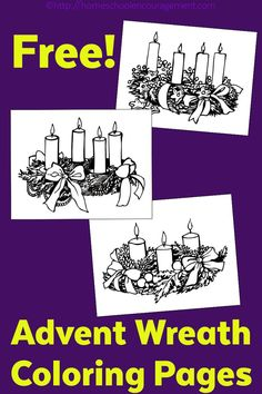 Advent Wreath Coloring Page (s) - set of three wreaths to color during the final week of Advent.