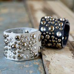 Anusha studded leather cuffs