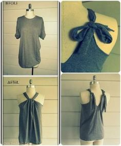 DIY No Sew T-Shirt Halter shirt diy t-shirt halter diy ideas diy crafts do it yourself easy diy diy tips halter top no sew craft clotges craft fashion craft shirt diy clothes diy shirt by proteamundi