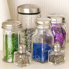 Use old or inexpensive salt and pepper shakers for delightful looking glitter dispensers. This also makes sure that no one uses all the glitter all at once!