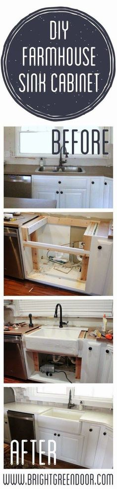 Best DIY Projects: The Farmhouse Sink- Altering an existing cabinet base to fit a farmhouse sink.