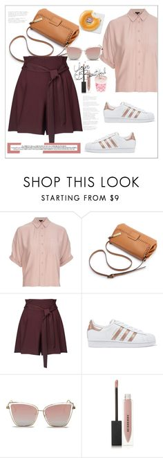 """""""Miss Selfridge Paper Bag Shorts , Wine"""" by biange ❤ liked on Polyvore featuring Topshop, Miss Selfridge, adidas Originals and Burberry"""