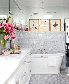 Bathroom, marble tile 2/3 wall, mirrored 1/3, art ledge, tub, white, Traditional Home