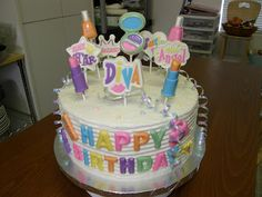 Birthday cake.  Handmade chocolate suckers on top.