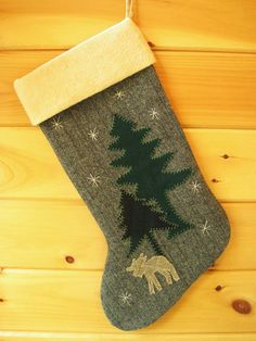 Woodland Moose Christmas Stocking by Away Up North at etsy.com #maineteam #christmas #moose
