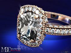 Tonnaeau Cushion Diamond Engagement ring in 18 Karat Pink Gold, 1 tcw