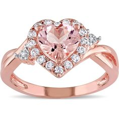 Miadora Rose Plated Sterling Silver Morganite ($153) ❤ liked on Polyvore featuring jewelry, rings, pink, band rings, long rings, heart shaped rings, heart ring and heart band ring