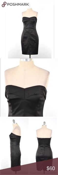 """Betsey Johnson satin strapless little black dress Super sexy little black dress from Betsey Johnson. Sleek stretch black satin fabric. Strapless, with a sweetheart neckline and a crumbcatcher detail. Fitted in the bust, waist, and hip for a figure-flattering sheath silhouette. Mini length. Size 4, can also fit a 2. Bust: 30"""" Waist: 26"""" Hip: 35"""" Length from underarm: 28"""" *measurements taken with garment lying flat; without stretching. This is meant to stretch to fit over the body. # Betsey…"""